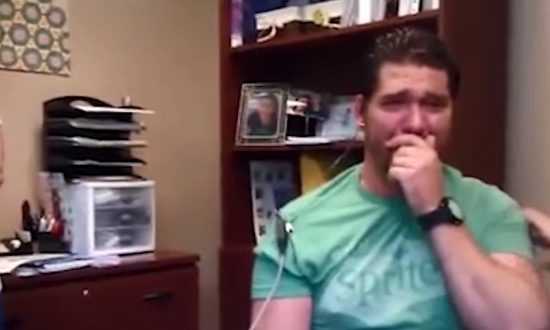 He lost a lot of his hearing at age one—30 years later—this miracle is all on video