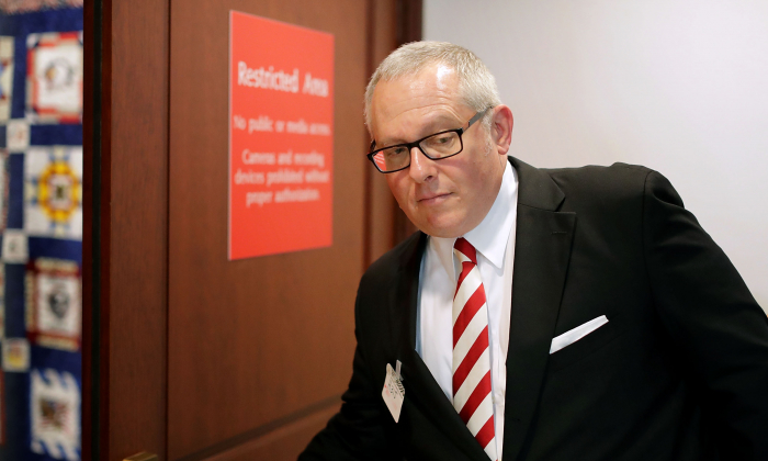 Former Trump campaign aide Michael Caputo arrives to testify before the House Intelligence Committee during a closed-door session at the Capitol Visitors Center July 14, 2017 in Washington. (Chip Somodevilla/Getty Images)