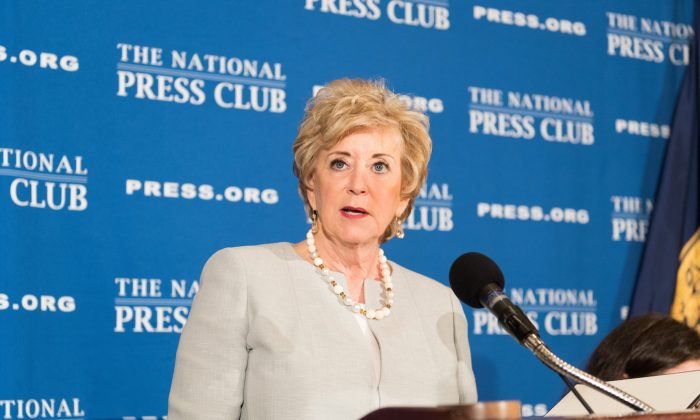 Linda McMahon, the 25th Administrator of the U.S. Small Business Administration, discusses the state of America's small businesses at a National Press Club headliners luncheon, on May 17. (Noel St. John/The National Press Club)