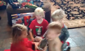 When these children come down the stairs on Christmas—they can't believe what's at the bottom