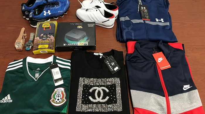 Counterfeit items seized by ICE (Immigration and Customs Enforcement) agents in Laredo, Texas. (Courtesy of ICE)