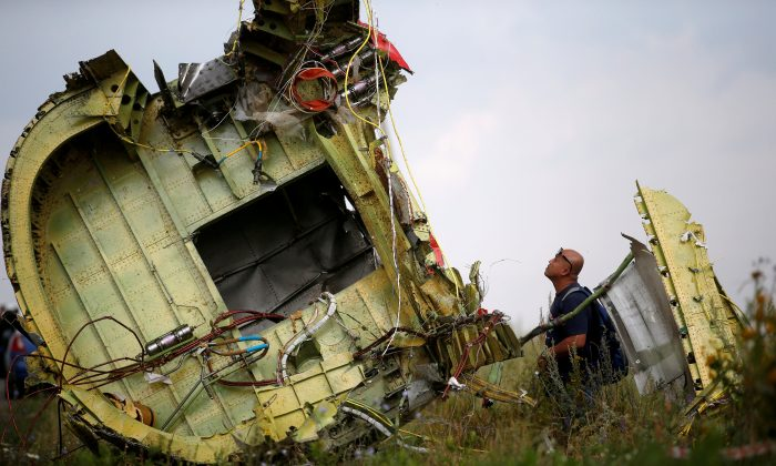 A Malaysian air crash investigator inspects the crash site of Malaysia Airlines Flight MH17, near the village of Hrabove (Grabovo) in Donetsk region, Ukraine, July 22, 2014.  (Reuters/Maxim Zmeyev/File Photo)