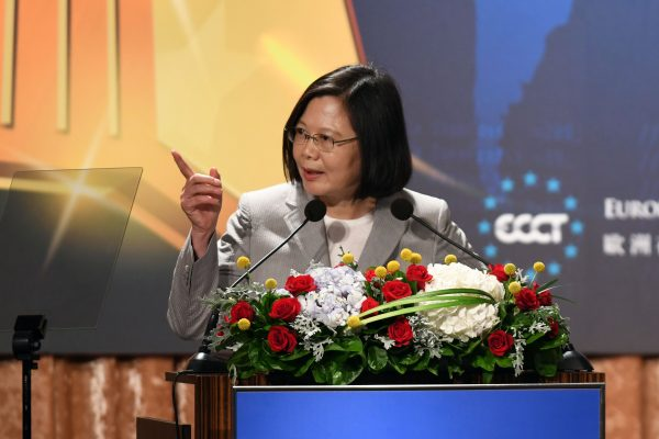 Taiwan President Tsai Ing-wen during an annual banquet for the European Chamber Of Commerce in Taipei