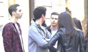Man on the street when woman comes up and stares at him—then things start getting weird