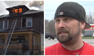 Man braves great danger to rescue pregnant woman and child trapped by fire