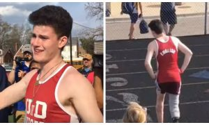 High school track star lost his leg and nearly his life but, his senior year—one last race