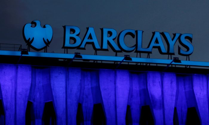 The logo of Barclays is seen on the top of one of its branch in Madrid, Spain, March 22, 2016. (Reuters/Sergio Perez/File Photo)