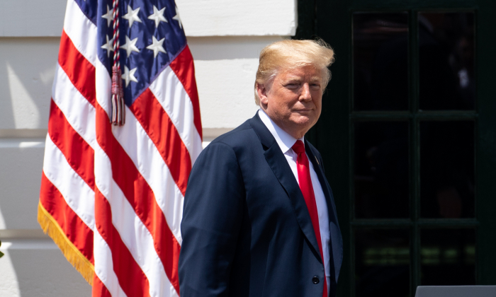 President Donald Trump on the South Lawn of the White House in Washington on May 21, 2018. (Samira Bouaou/The Epoch Times)