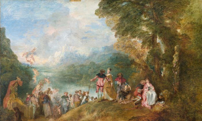 """""""The Embarkation for Cythera,""""  1717 by Antoine Watteau (1684–1721). Oil on canvas 50.7 inches by 76.3 inches, Louvre Museum. (Public Domain)"""