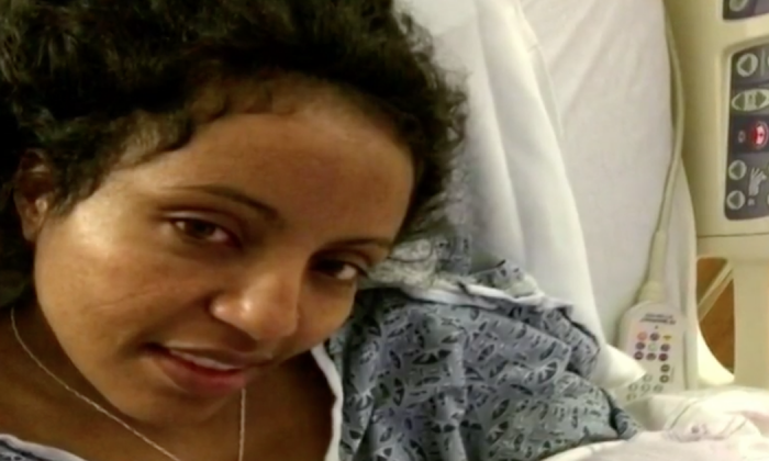 Husband forced to pull over when wife starts giving birth in the back of the car
