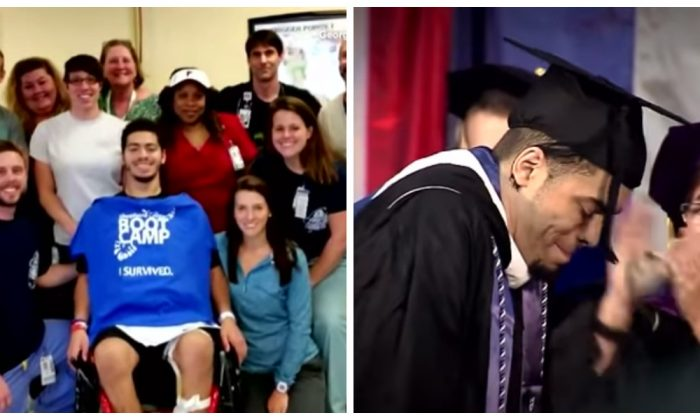 Classmates give standing ovation when paralyzed football player stands at graduation