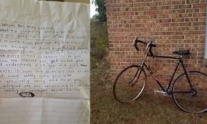 Deputy can't stay mad at woman who stole his bike after reading the note she left