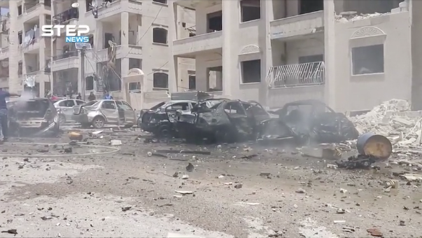 Footage uploaded on the internet shows aftermath of what appears to be a car explosion in Idlib, Syria on May 26, 2018. (Step News Agency/Reuters TV)