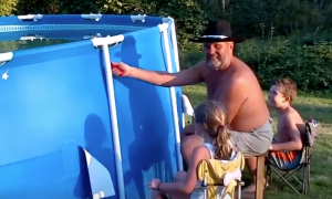 Dad pokes a hole in their backyard pool—soon they learn what a huge mistake it was