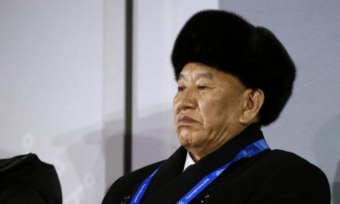 Kim Yong Chol, vice chairman of North Korea's ruling Workers' Party Central Committee, attends the closing ceremony of the Pyeongchang 2018 Winter Olympic Games at the Pyeongchang Stadium on Feb. 25, 2018. (Patrick Semansky/AFP/Getty Images)