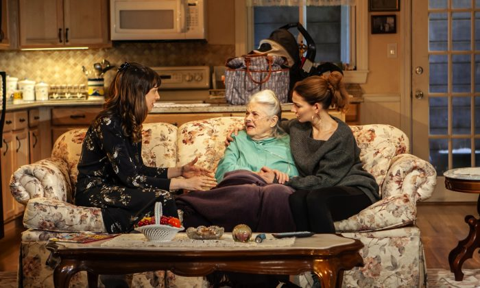 """Mary Frances (Lois Smith, C), now in hospice care, surrounded by her granddaughters Rosie (Natalie Gold, L), and Helen (Heather Burns) in Lily Thorne's """"Peace for Mary Frances."""" (Monique Carboni)"""