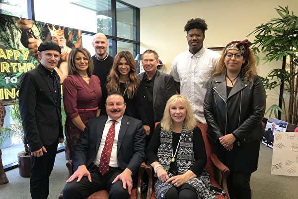 Republican candidate for Congress, Phil Liberatore and wife (front sitting) with supporters on May 24, 2018 in La Mirada, California.  (Jenny Liu/Epoch Times)