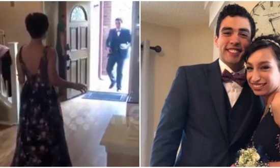 Prom date arrives to pick girl up. But what he sees when he opens the door—he's stumbling backwards