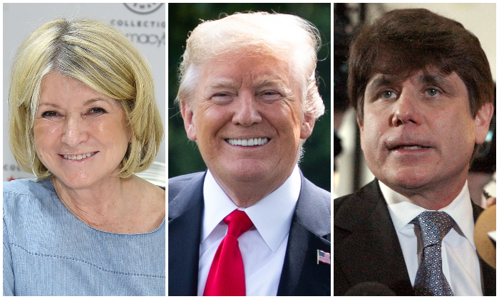 Martha Stewart (Jamie McCarthy/Getty Images) President Donald Trump (Samira Bouaou/Epoch Times) Rod Blagojevich (Frank Polich/Getty Images)