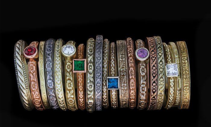 A stack of rings made by Hugo Kohl using recovered hubs and the traditional methods of jewelry making. (Courtesy of Hugo Kohl)