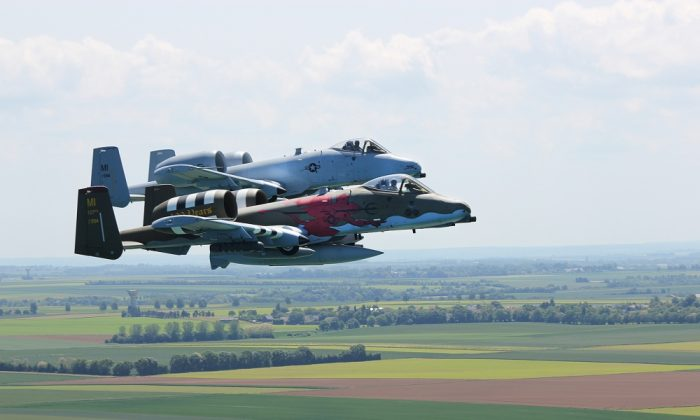National Guard A-10 Thunderbolt II aircraft of the 107th Fighter Squadron participates in a D-Day commemoration in France on June 3, 2018. (U.S. Air National Guard photo by Tech. Sgt. Dan Heaton)