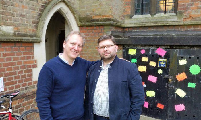 Nigel Short (L) and Pawel Lukaszewski at the Tenebrae recording session in May, 2016 (Courtesy of Pawel Lukaszewski)