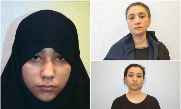 Safaa Boular (L), convicted of terrorism offenses on June 4 along with her mother, Mina Dich (top R), and her sister, Rizlaine Boular (bottom R), who both pled guilty to terrorism charges, together with a fourth woman. (Met Police)