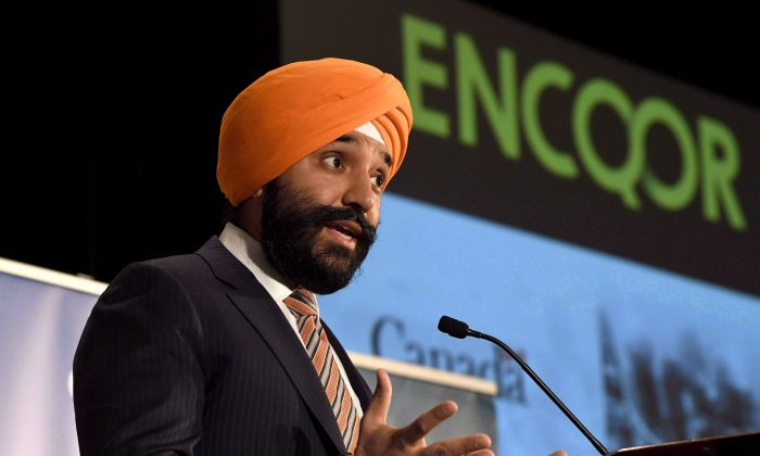 Innovation Minister Navdeep Bains speaks during an announcement on investments in 5G technology by the Ontario, Quebec, and federal governments, in Ottawa on March 19, 2018. (The Canadian Press/Justin Tang)