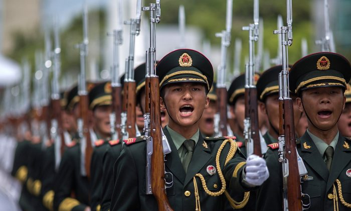 China's Peoples' Liberation Army (PLA) soldiers march in Hong Kong in this file photo. (Lam Yik Fei/Getty Images)