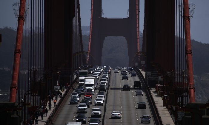 Traffic backs as it travels northbound on the Golden Gate Bridge in Sausalito, California on May 1. California California has become the fifth largest economy in the world in 2017, surpassing countries like the U.K., France and India. (Justin Sullivan/Getty Images)