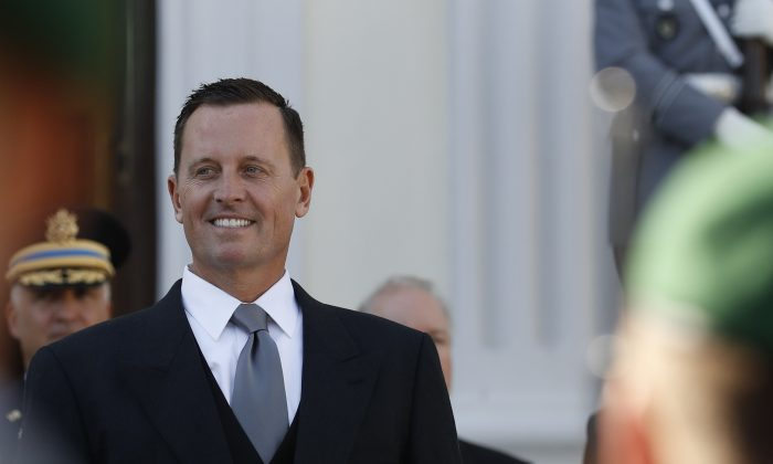 Newly accredited U.S. Ambassador Richard Allen Grenell stands in front of a military honor guard during an accreditation ceremony for new Ambassadors in Berlin, Germany, on May 08, 2018. (ODD ANDERSEN/AFP/Getty Images)