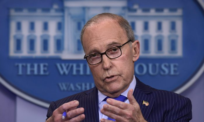 Senior White House economic adviser Larry Kudlow speaks during a briefing at the White House on June 6, 2018, on the upcoming G7 summit. (AP Photo/Susan Walsh)