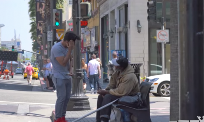 Man offers money to both homeless people and rich people with opposing results