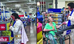 Elvis singer is at Walmart, but one shopper does—she couldn't resist