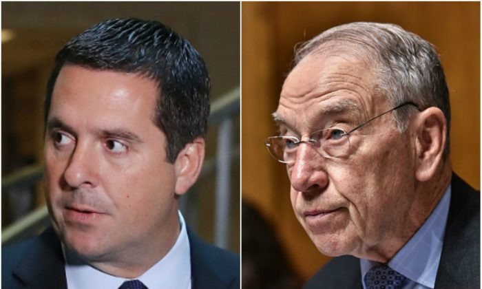 House Intelligence Committee Chairman Devin Nunes (R-Calif.) and Senate Judiciary Committee Chairman Chuck Grassley. (Mark Wilson/Getty Images - MANDEL NGAN/AFP/Getty Images)