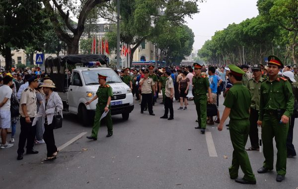 Police disperse a demonstration in Hanoi Vietnam