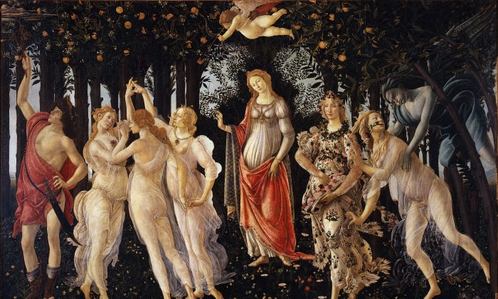 """Can an old painting still mean something to us? """"La Primavera,"""" 1481–1482, by Sandro Botticelli. Tempera on panel, Uffizi Gallery. (Public Domain)"""