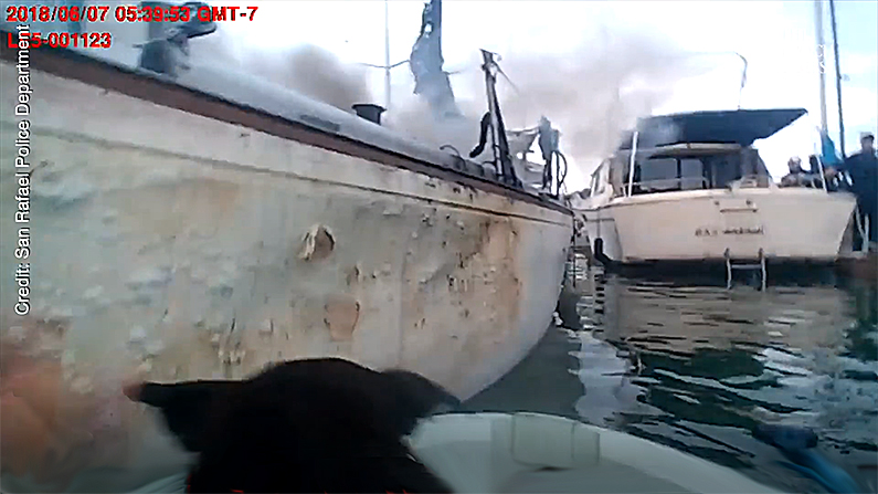 The head of the rescued dog pokes above the gunwales as the officer pushes off from the burning boat. (San Rafael Police Department screenshot)