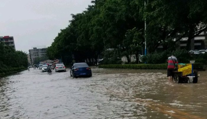 A street flooded in southern China's Guangdong Province. (RFA)