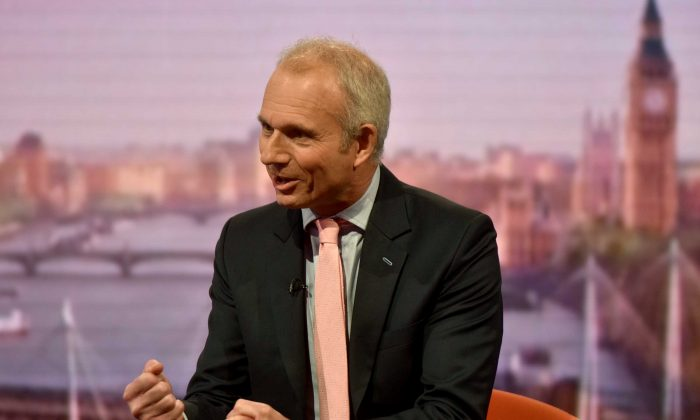Britain's Minister for the Cabinet Office David Lidington appears on the Marr Show on BBC television in London, Britain, June 10, 2018. (Jeff Overs/BBC/Handout via Reuters)