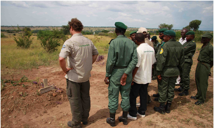 Rangers bury Buzara Habimana, killed on patrol in Virunga National Park, in the Democratic Republic of Congo, in 2008.  Courtesy the Thin Green Line Foundation
