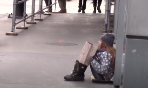 Little girl acts homeless to see who lends a hand and two kind souls make an appearance