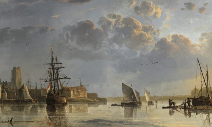 """""""View of Dordrecht,"""" circa 1655, by Aelbert Cuyp. Oil on canvas 32 7/8 inches by 81 1/2 inches. (National Trust Images/John Hammond)"""
