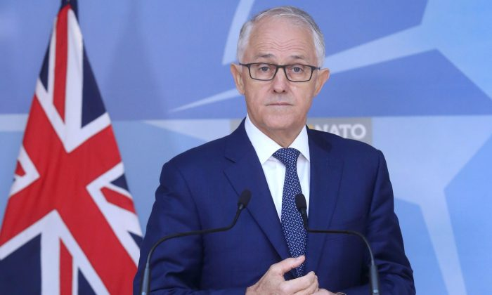 Australian Prime Minister Malcolm Turnbull speaks at a news conference after a meeting with NATO Secretary-General Jens Stoltenberg at the Alliance's headquarters in Brussels, Belgium April 24, 2018. (Reuters/Francois Walschaerts/File Photo)