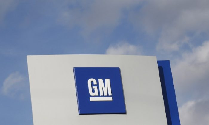 The GM logo is seen at the General Motors Warren Transmission Operations Plant in Warren, Michigan, on Oct. 26, 2015. (Rebecca Cook/Reuters/File Photo)