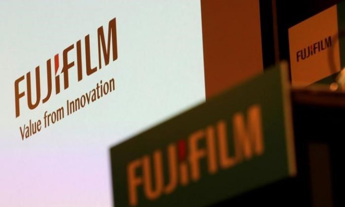 Fujifilm Holdings' logos are pictured ahead of its news conference in Tokyo, Japan Jan. 31, 2018. (REUTERS/Kim Kyung-Hoon/File Photo)