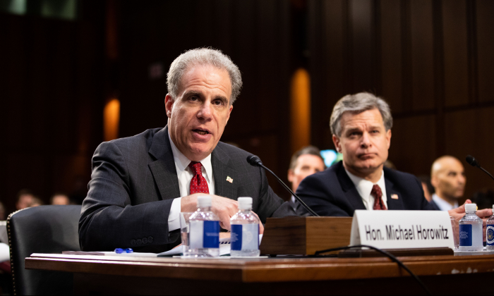 Michael Horowitz (L), Inspector General at the Department of Justice and FBI Director Christopher Wray at a Senate hearing in Washington on June 18, 2018. (Samira Bouaou/The Epoch Times)