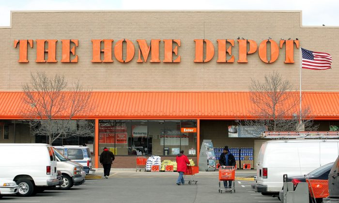 A stock photo of the facade of The Home Depot store is seen on  Feb. 17, 2005, in Evanston, Illinois  (Tim Boyle/Getty Images)