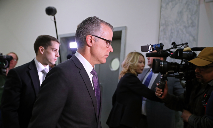 Federal Bureau of Investigation Deputy Director Andrew McCabe arrives for a meeting with members of the Oversight and Government Reform and Judiciary committees in the Rayburn House Office Building in Washington on Dec. 21, 2017. (Chip Somodevilla/Getty Images)