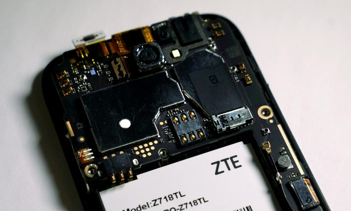 The inside of a ZTE smartphone, taken on April 17, 2018. (Carlo Allegri/Illustration/File Photo/Reuters)
